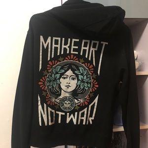 Obey hoodie 'make art not war'